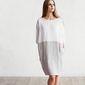 MAGIC LINEN Lagenlook sack dress side pockets NWT